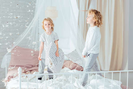 Cute, small brothers standing on bed, doing mess