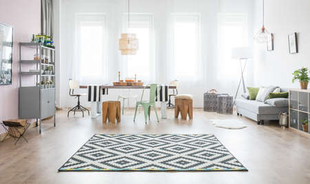 Functional apartment with dining table, sofa and pattern rug