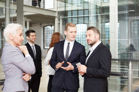 Elegant and confident businesswoman negotiating with business partners Stock Photo