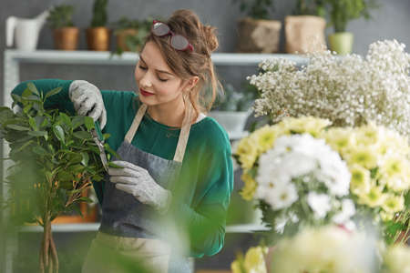 happy work: Young smiling flower shop owner surrounded by flowers Stock Photo
