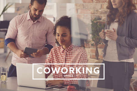 Young people working in creative agency, coworking office Stock fotó