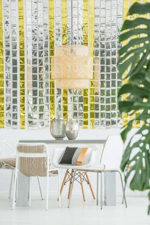white interior: Modern white and gold interior of elegant loft
