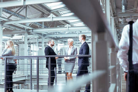 Successful woman boss talking with two businessmen Stock Photo