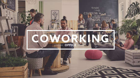 Workers of modern agency having break, coworking office Stock Photo - 75718120