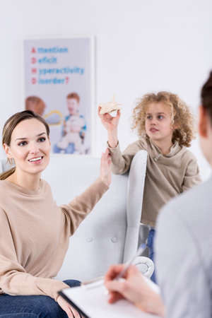pedagogical: Therapy for ADHD child in therapy centre Stock Photo