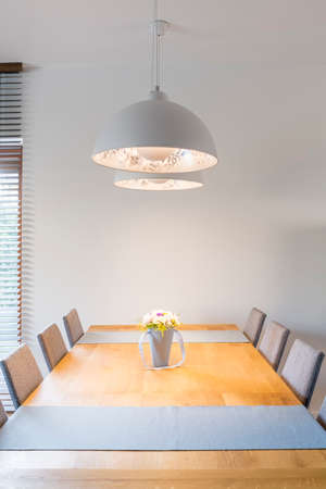 Big wooden table in the modern  kitchen Фото со стока