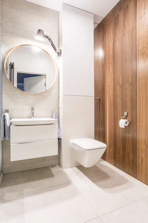 privy: Modern toilet with white walls and a mirrow