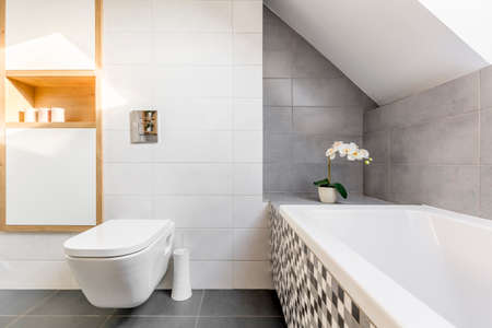 Attic bathroom in grey and white with bathtub and toilet Stock Photo