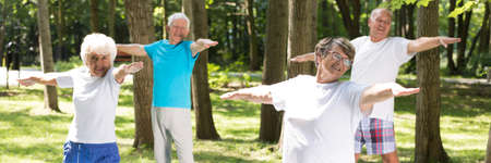 Senior people on outdoor fitness training in the park