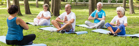 Group of elderly people meditating during outdoor yoga session in the park