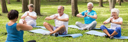Elder people meditating together on yoga class in the park