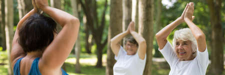 Senior women exercising with professional instructor in the park Stock Photo
