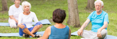 Elderly people practising yoga during the training in the park Stock Photo