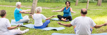 Quiet park area with seniors doing a common meditation