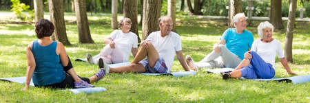 Senior people having a stretching training in the park Stock Photo