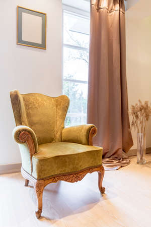 Shot of an elegant green armchair made in a classic style Stock Photo