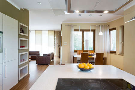 White kitchen island with electric cooktop in a neat modern kitchen Stok Fotoğraf - 77578383