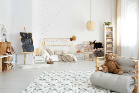 Kids stylish modern bedroom designed in scandi style