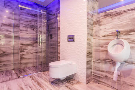 Marble bathroom with urinal, toilet and glass shower enclosure Stock Photo