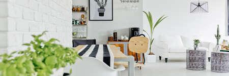 Modern open space interior design in scandi style