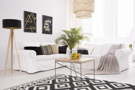 White and black lounge with comfortable sofa and wooden coffee table