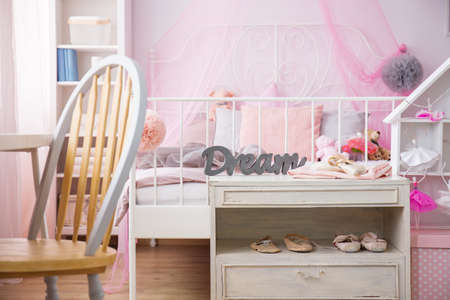 Room of young ballerinas dreams with comfortable bed