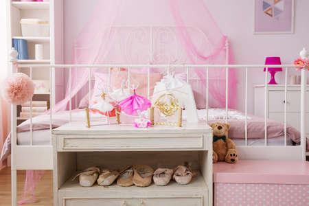 Dancing decorations in pink room of ballet dancer Stock Photo
