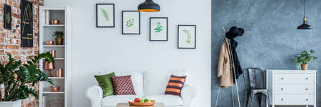 Modern Living Room Decorated With Botanic And Copper Accessories Stock  Photo   77583346