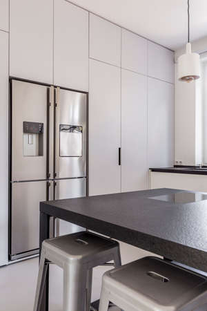 Double door refrigerator in modern white and black kitchen