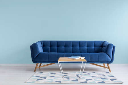 Pretty simple decor of living room with blue sofa and light blue wall