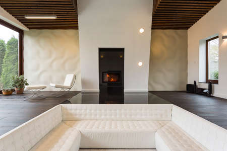 fireplace living room: Living room with fireplace in front of the luxurious sofa