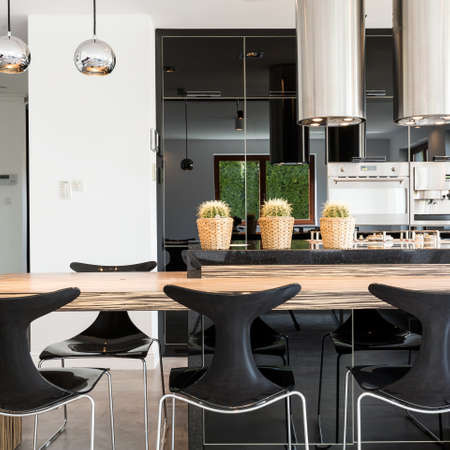 Functional modern kitchen and dining room arranged with metal and glass materials