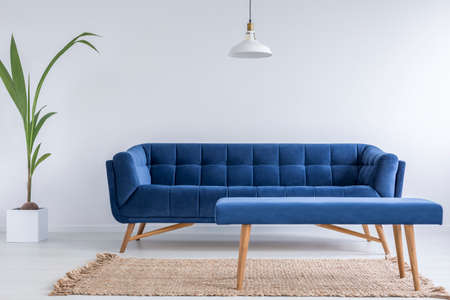Quilted blue sofa and bench in trendy modest room with white walls