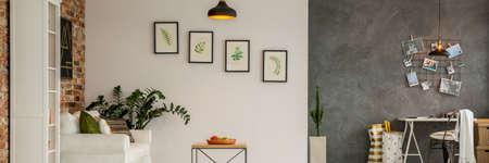 Weiße Und Graue Wand Im Modernen Wohnzimmer Mit Bildern Verziert Photo