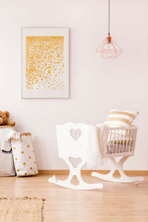 poster bed: White, nursery room with cradle, copper lamp and wall poster