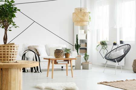 Modern designed interior of spacious cozy living room