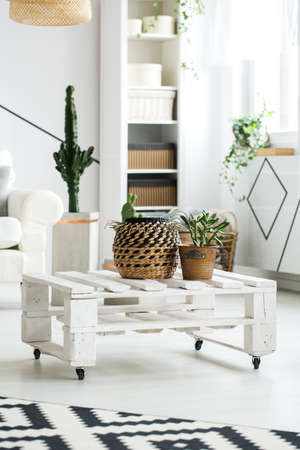 White wooden coffee table made of pallets with plants on it