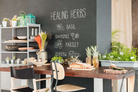 Healthy zone with herbs in dining hall at modern home 版權商用圖片