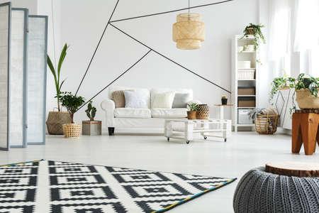掌スタイルのリビング ルームで白のモダンな家具 写真素材