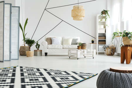 White modern furniture in scandi style living room