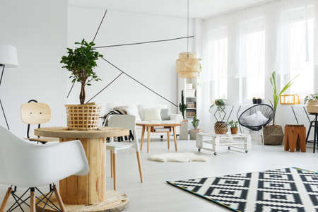 Scandinavian style living room with white furniture and wooden decoration