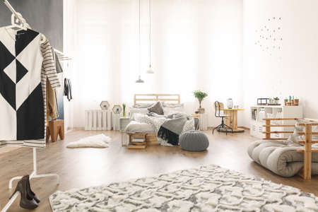 Stylish modern studio apartment with wooden diy accessories