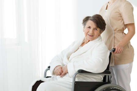 Smiling elderly woman sitting on wheelchair and a caregiver standing behind her Stok Fotoğraf