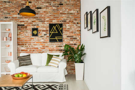 living room design: White furniture in copper modern living room