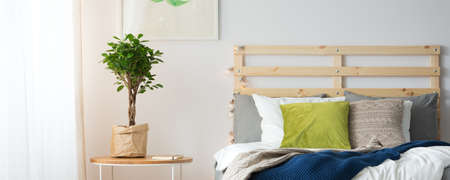 Colorful decor of cozy simple bedroom with comfortable bed