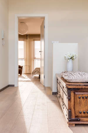 Elegant house hallway with rustic wooden commode