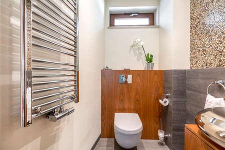 Functional stylish bathroom with toilet and radiator Banco de Imagens