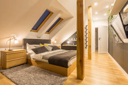 Spacious bedroom with king-size bed, wooden accessories and tv