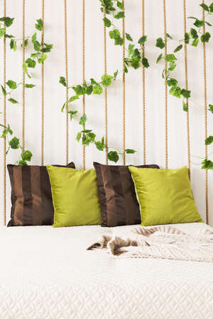 apartment: Bedroom with bed, green and brown pillows, rope wall, ivy Stock Photo