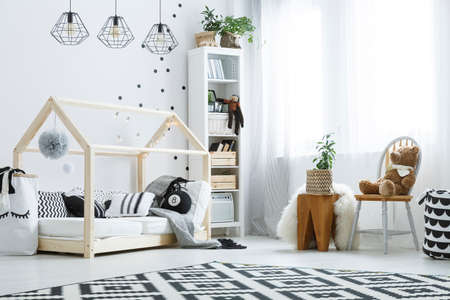 cosily: Modern style room with white and black decoration for baby Stock Photo